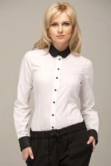 Biało&czarna Koszula z Kontrastowym Okrągłym Kołnierzykiem