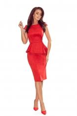 Elegancka Ołówkowa Sukienka Midi z Asymetryczną Baskinką - Czerwona