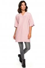 Pudrowa Prosta Mini -Sukienka Tunika z Dekoltem V