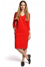 Sukienka Codzienna Dzianinowa z Dekoltem w Szpic - Czerwona