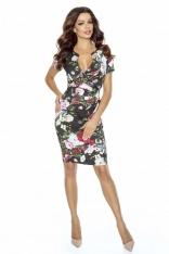 Elegancka Sukienka z Założeniem Kopertowym w Kwiaty