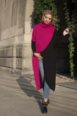 Amarantowy Dwukolorowy Długi Sweter z Golfem z Kopertowym Założeniem