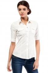 Klasyczna Koszula z Krótkim Rękawem - Ecru