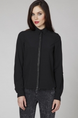 Czarna Elegancka Koszula z Biżuteryjną Plisą