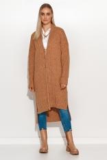 Zapinany na Guziki Sweter z Dłuższym Tyłem - Brązowy