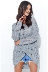 Szary Ażurowy Luźny Sweter z Szerokim Dekoltem