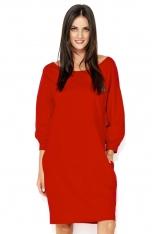 Czerwona Luźna Sukienka Dzianinowa z Balonowym Rękawem