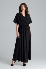Czarna Długa Rozkloszowana Sukienka z Kopertowym Dekoltem