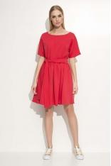 Czerwona Sukienka z Krótkim Kimonowym Rękawem