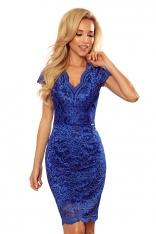 Koronkowa Sukienka z Kobiecym Dekoltem V - Chabrowa