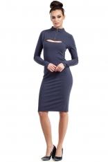 Niebieska Sukienka Ołówkowa do Kolan z Suwakiem