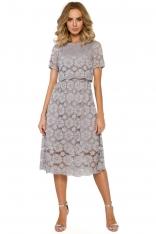 c70c330c52 Szara Koronkowa Rozkloszowana Midi Sukienka z Krótkim Rękawem