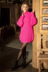 Różowa Swetrowa Sukienka - Tunika z Półgolfem