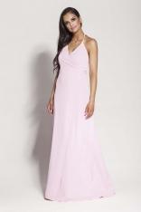 Różowa Elegancka Długa Sukienka Wiązana na Szyi