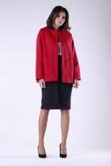 Czerwony Krótki Elegancki Płaszcz bez Kołnierza