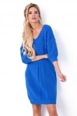 Niebieska Sukienka z Dekoltem V z Przodu i na Plecach