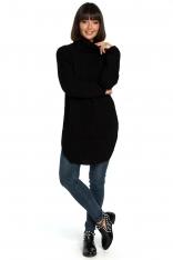 Czarny Wygodny Długi Sweter z Golfem