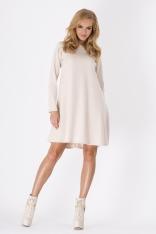 Beżowa Luźna Sukienka Midi z Długim Rękawem