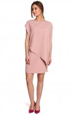 Krótka Dwuwarstwowa Sukienka - Różowa