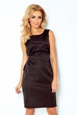Czarna Lśniąca Koktajlowa Sukienka z Wiązaniem