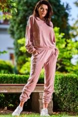 Welurowa Bluza z Logowaną Taśmą - Różowa