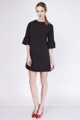Czarna Sukienka Trapezowa Mini z Falbanką przy Rękawie