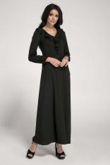 Długa Czarna Sukienka z Falbankami przy Dekolcie