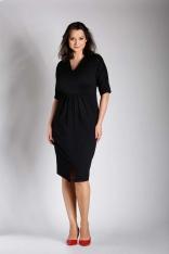 Czarna Sukienka w Serek z Efektownym Marszczeniem w Talii PLUS SIZE