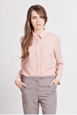 Różowa Klasyczna Koszula Damska z Krytym Zapięciem