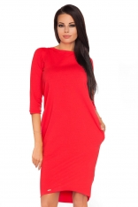Czerwona Dzianinowa Stylowa Sukienka z Wiązaniem na Karku