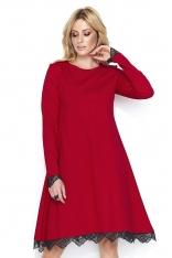 Czerwona Elegancka Sukienka do Kolan Wykończona Koronką