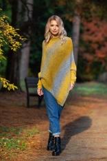Żółty Multikolorowy Sweter-Ponczo