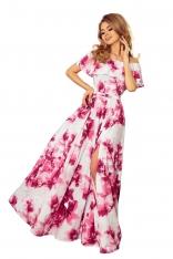 Różowa Kwiecista Maxi Sukienka z Hiszpańskim Dekoltem