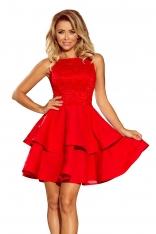 Czerwona Wyjściowa Podwójnie Rozkloszowana Sukienka z Koronką