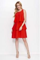 Czerwona Sukienka z Falbankami bez Rękawów