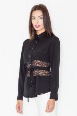 Czarna Koszulowa Bluzka z Koronkowym Panelem