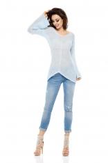 Asymetryczny Lekki Sweter z Dekoltem V - Błękitny