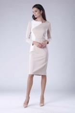 Beżowa Ecru Wizytowa Sukienka z  Kontrastowym Panelem