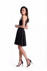 Czarna Błyszcząca Rozkloszowana Sukienka z Siateczką