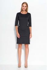 Czarna Sukienka z Dekoracyjnymi Patkami