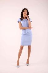 Błękitna Dopasowana Sukienka z Krawatką