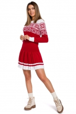 Czerwona Świąteczna Sukienka Swetrowa z Obniżoną Talią