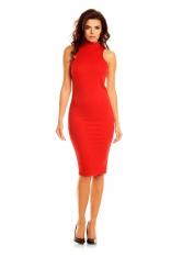 Czerwona Seksowna Sukienka za Kolana