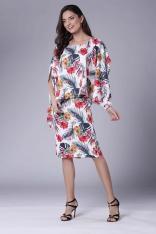 Dopasowana Tropical Sukienka z Asymetryczną Narzutką