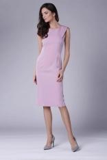 Jasnoróżowa Wizytowa Ołówkowa Sukienka z Zakładką na Ramionach
