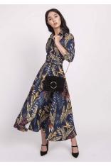 Granatowa Rozkloszowana Sukienka z Kopertowym Dekoltem w Liście