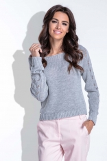 Szary Sweter z Ażurowym Wzorem