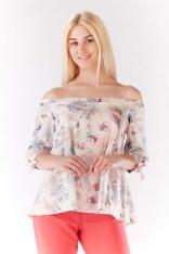 Bluzka z Dekoltem Carmen w Jasne Kwiaty