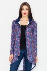 Granatowa Bluza na Suwak w Kwiaty z Kapturem