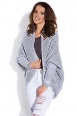 Szary Sweter - Narzutka we Wzory
